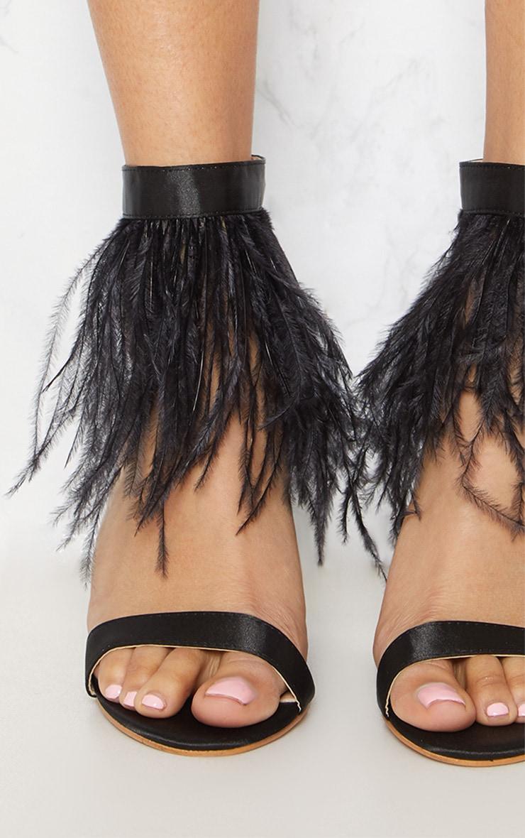 Black Feather Block Heel Sandal 5