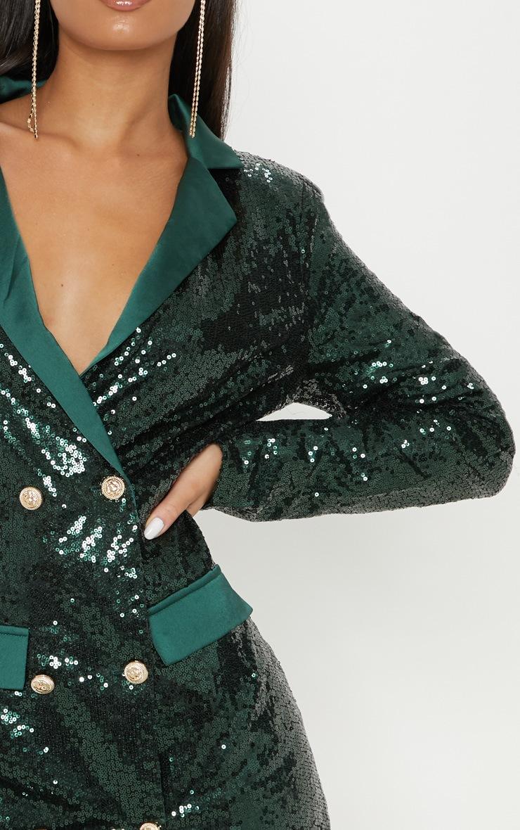 Emerald Green Sequin Button Detail Blazer Dress  4