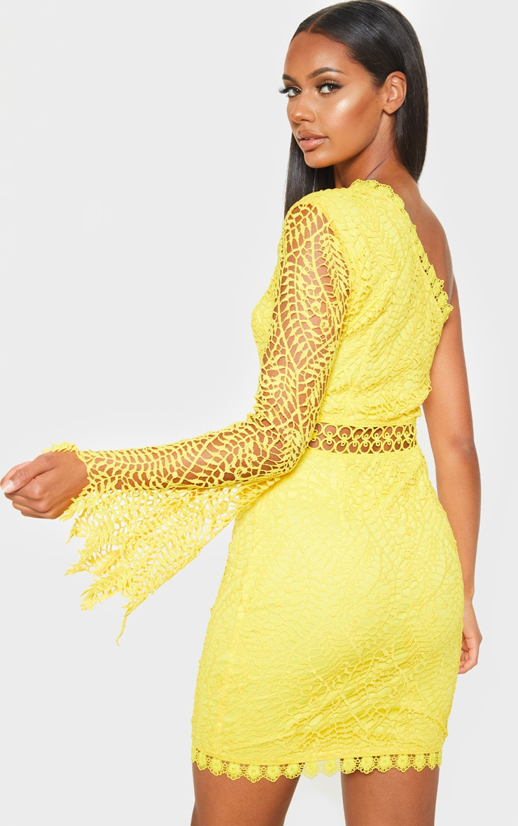 Bright Yellow One Shoulder Lace Bodycon Dress 2