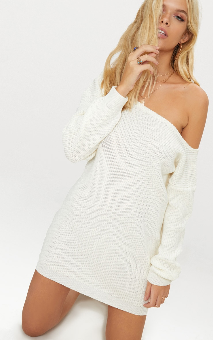 Cream Off The Shoulder Jumper Dress 1