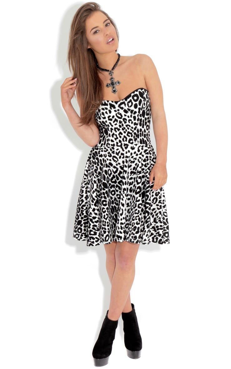 Eimear Black Leopard Print Skater Dress 3