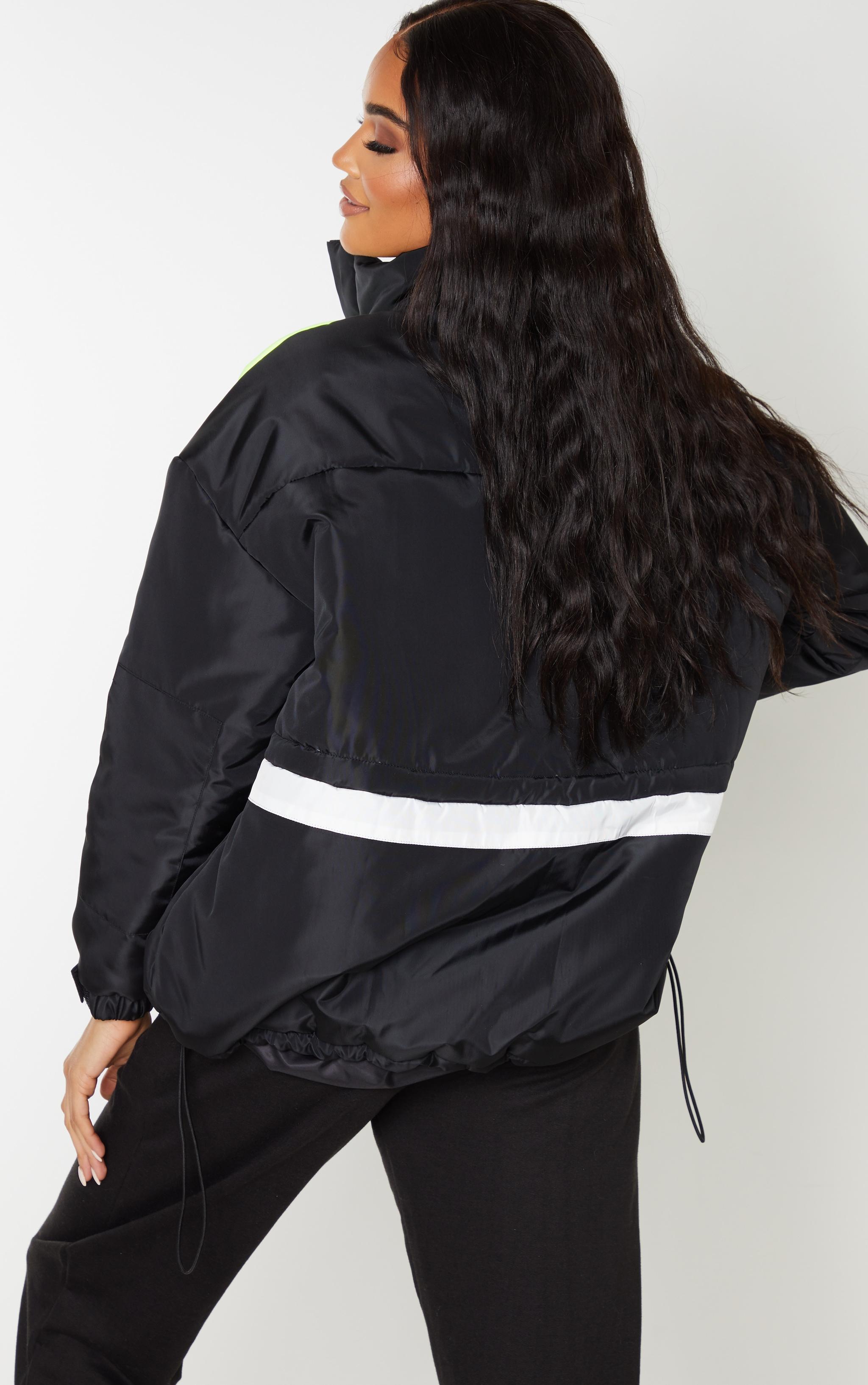 Black Padded Colour Block Jacket 2