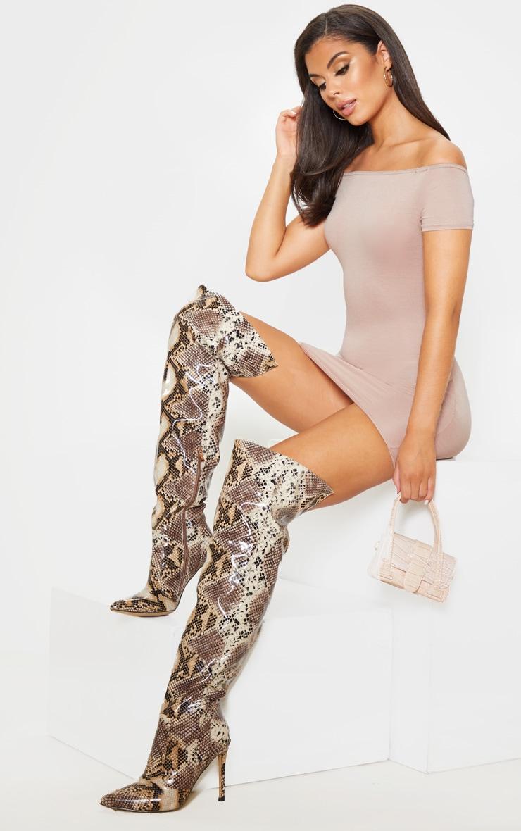 Stone Short Sleeve Bardot Bodycon Dress 4