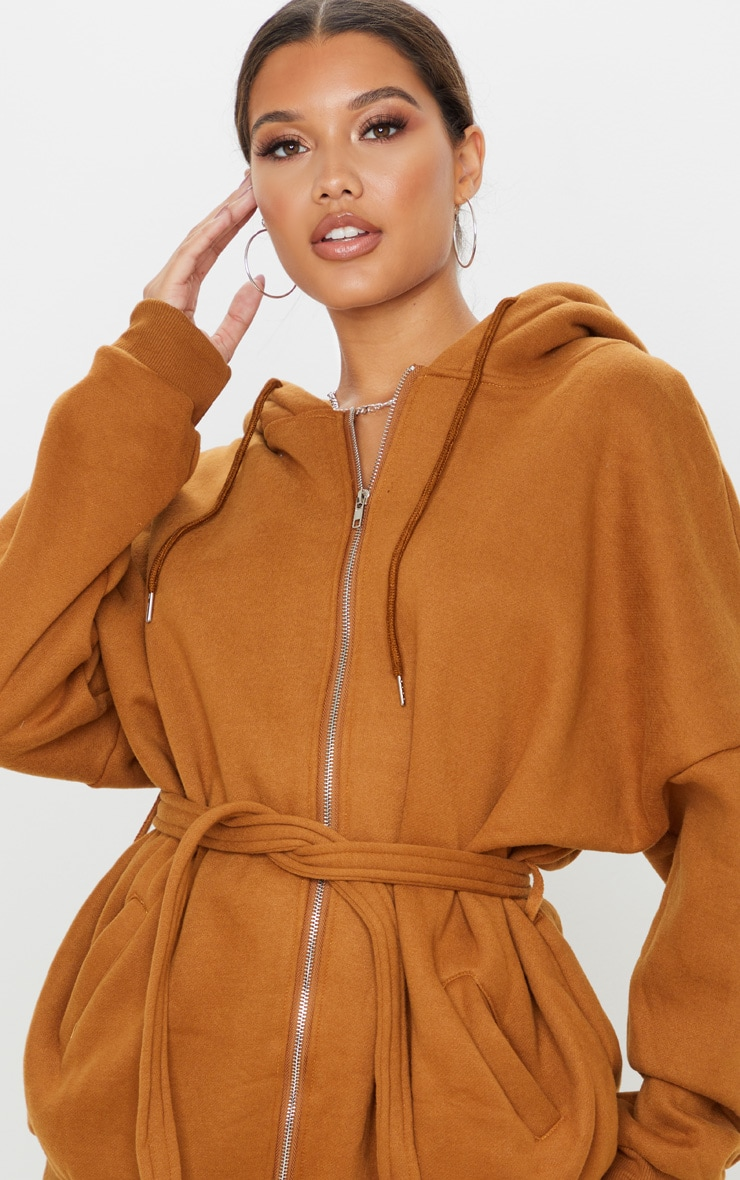 Camel Oversized Belted Sweat Hoodie 6