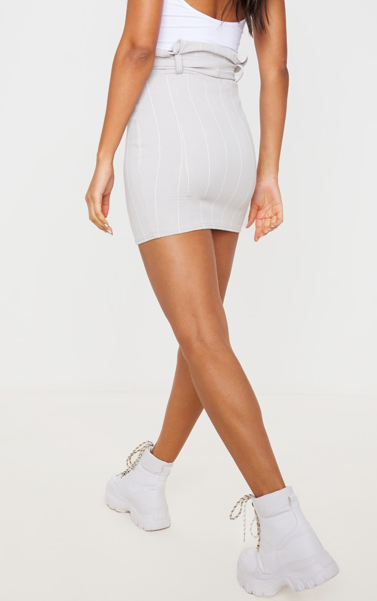 Grey Pinstripe Tie Waist Mini Skirt 3