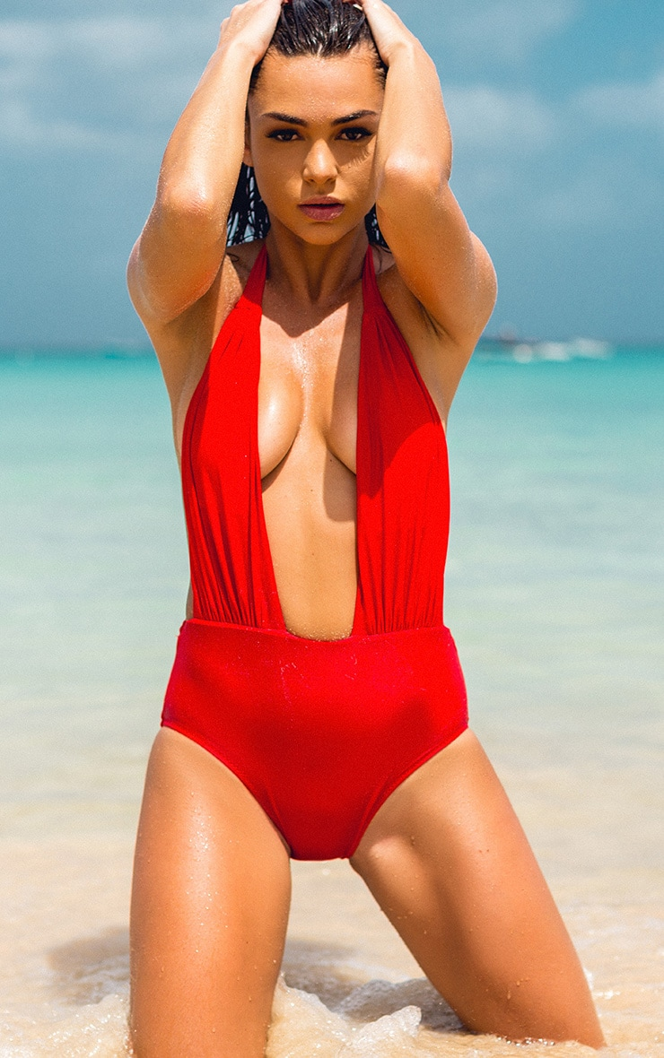 Evangelina Red Plunge Swimsuit 1