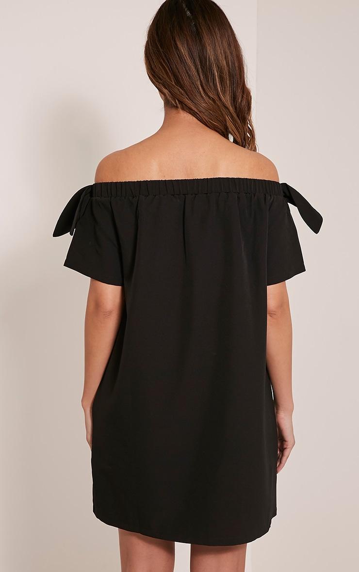 Cayla robe trapèze bardot en crêpe noire 2