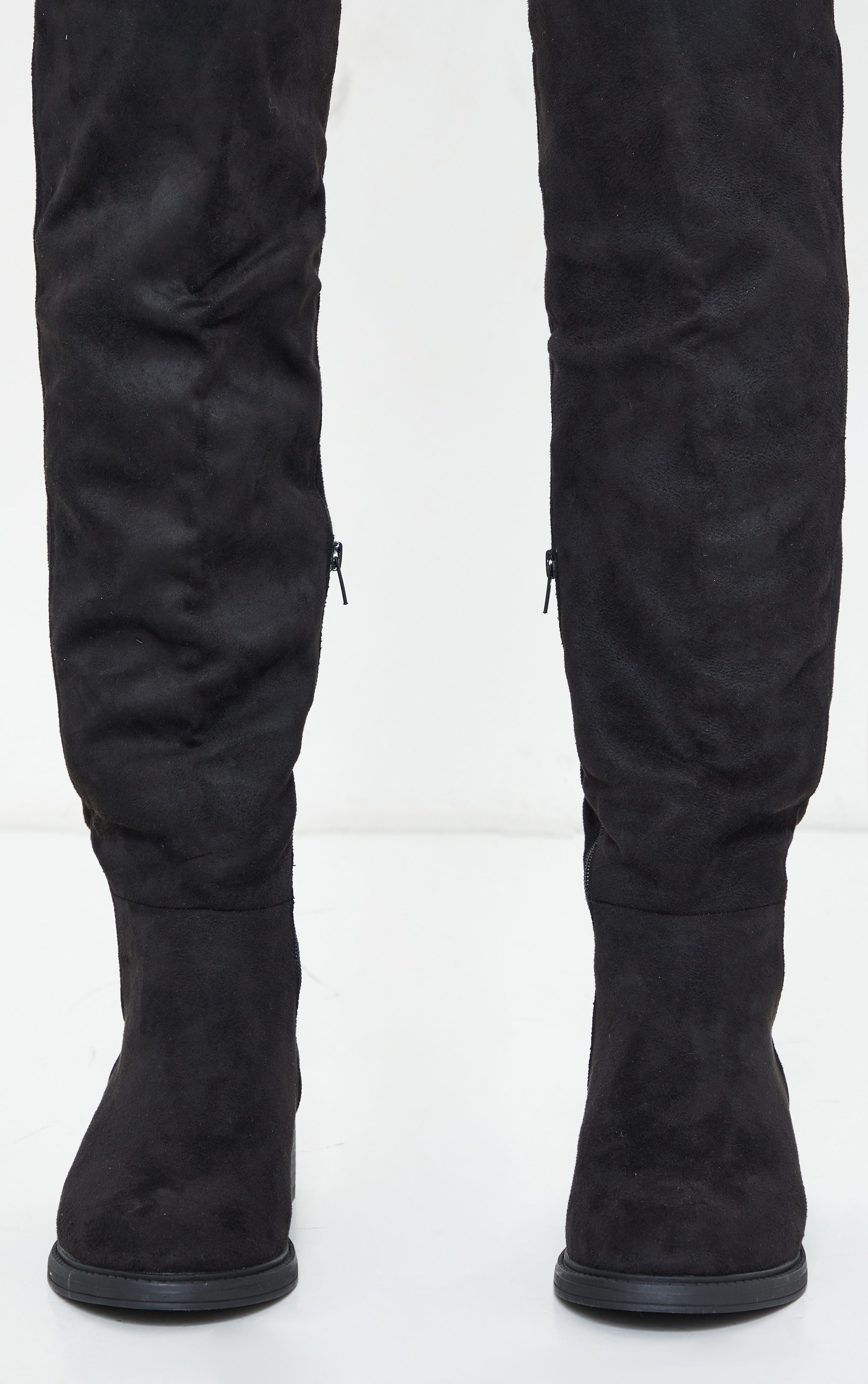 Black Wide Fit Faux Suede Knee High Boots 3