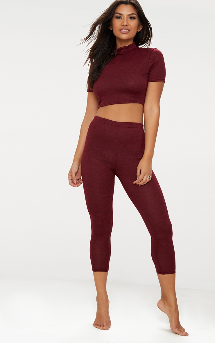 Red High Neck Cropped Knitted Legging Set 2