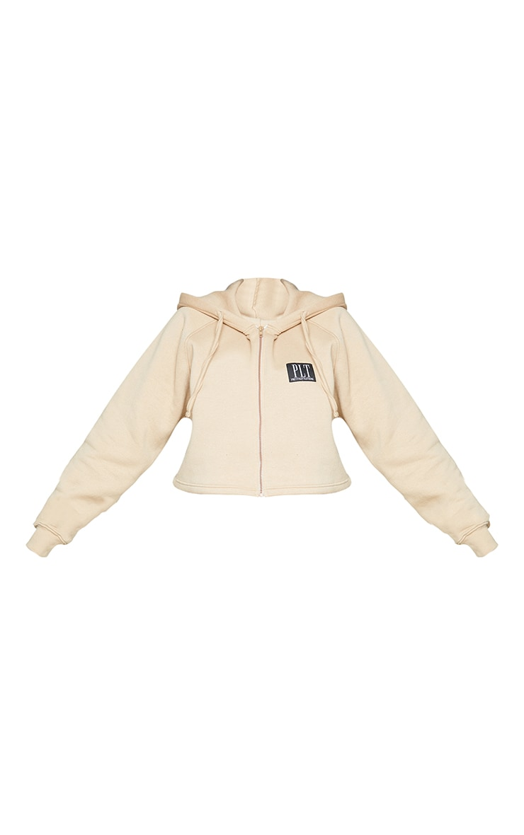 PRETTYLITTLETHING Plus Stone Badge Zip Up Cropped Hoodie 5