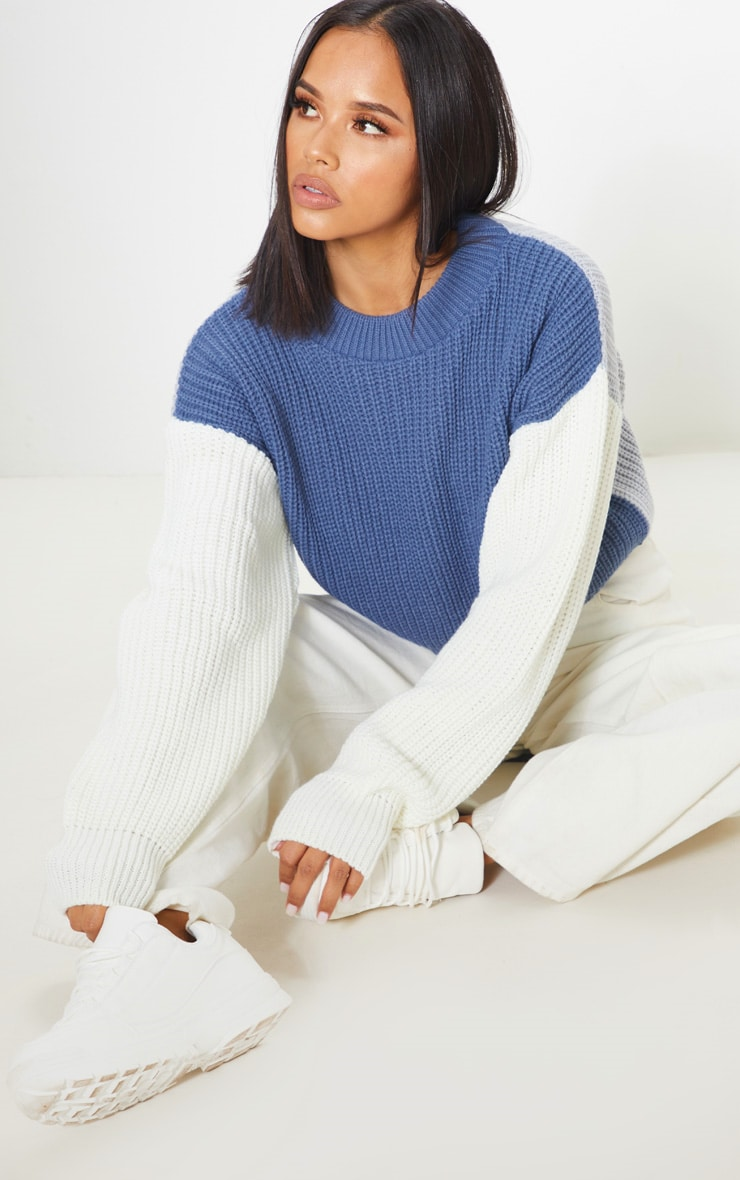 Cream Colour Block Cropped Knitted Jumper 5