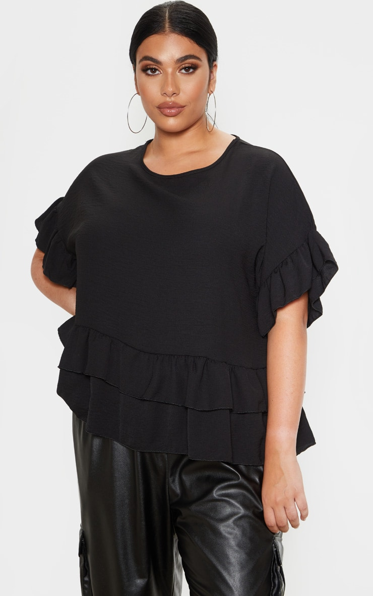 Plus Black Frill Detail Blouse  1