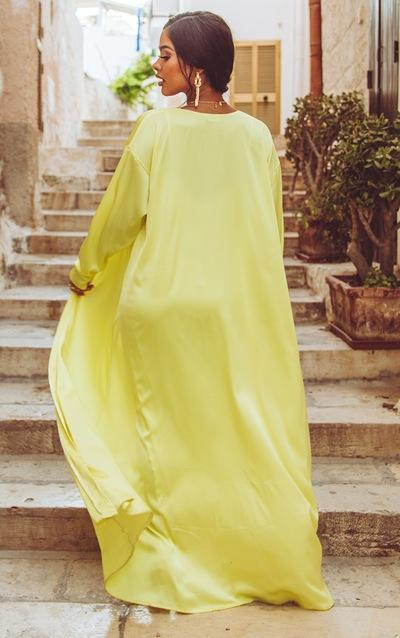 Lime Satin Kimono