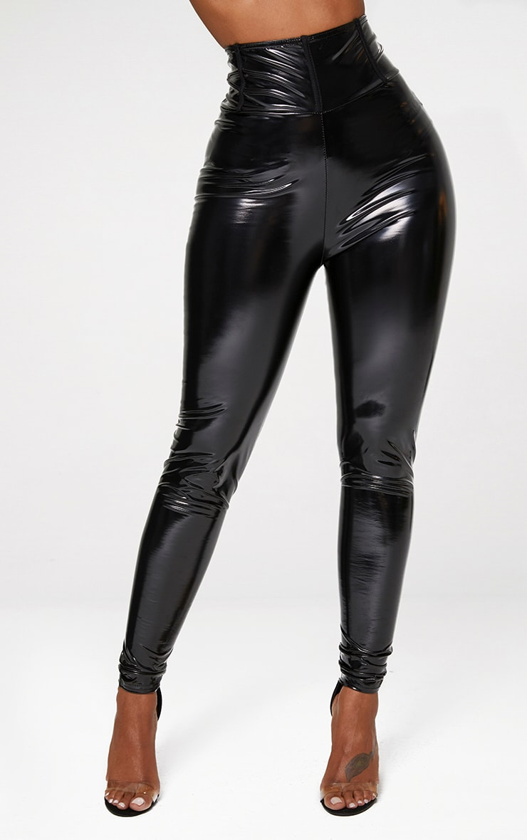 Shape Black High Waist Vinyl Leggings 2