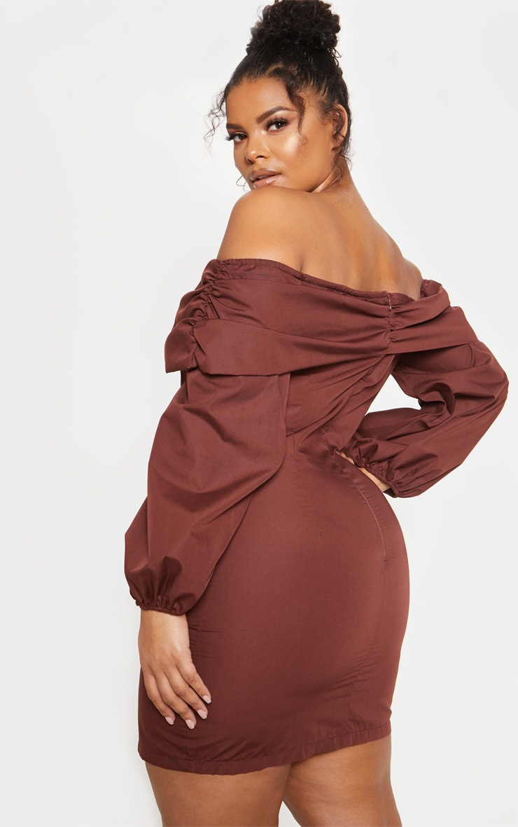 Chocolate Puff Sleeve Ruched Bardot Bodycon Dress 3