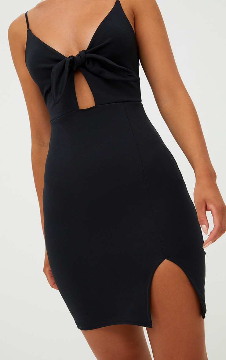 Black Tie Front Bodycon Dress 5