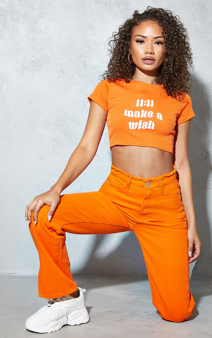 Petite Orange 11:11 Slogan Rib T Shirt 1