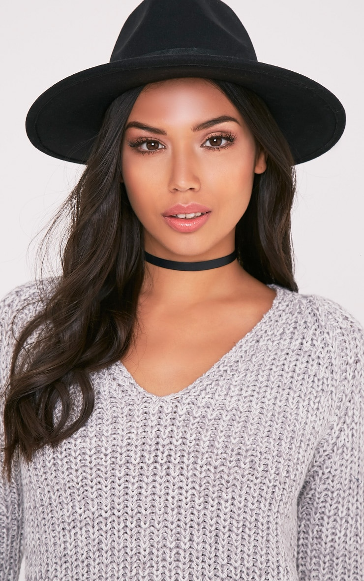Kynia Black Wide Fedora Hat 1