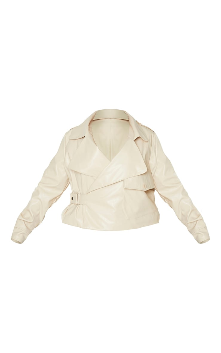 Plus Cream PU Buckle Detailed Biker Jacket 3