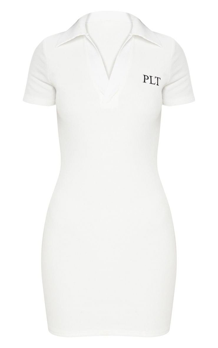 PRETTYLITTLETHING White Embroidered Collar Detail Bodycon Dress 3