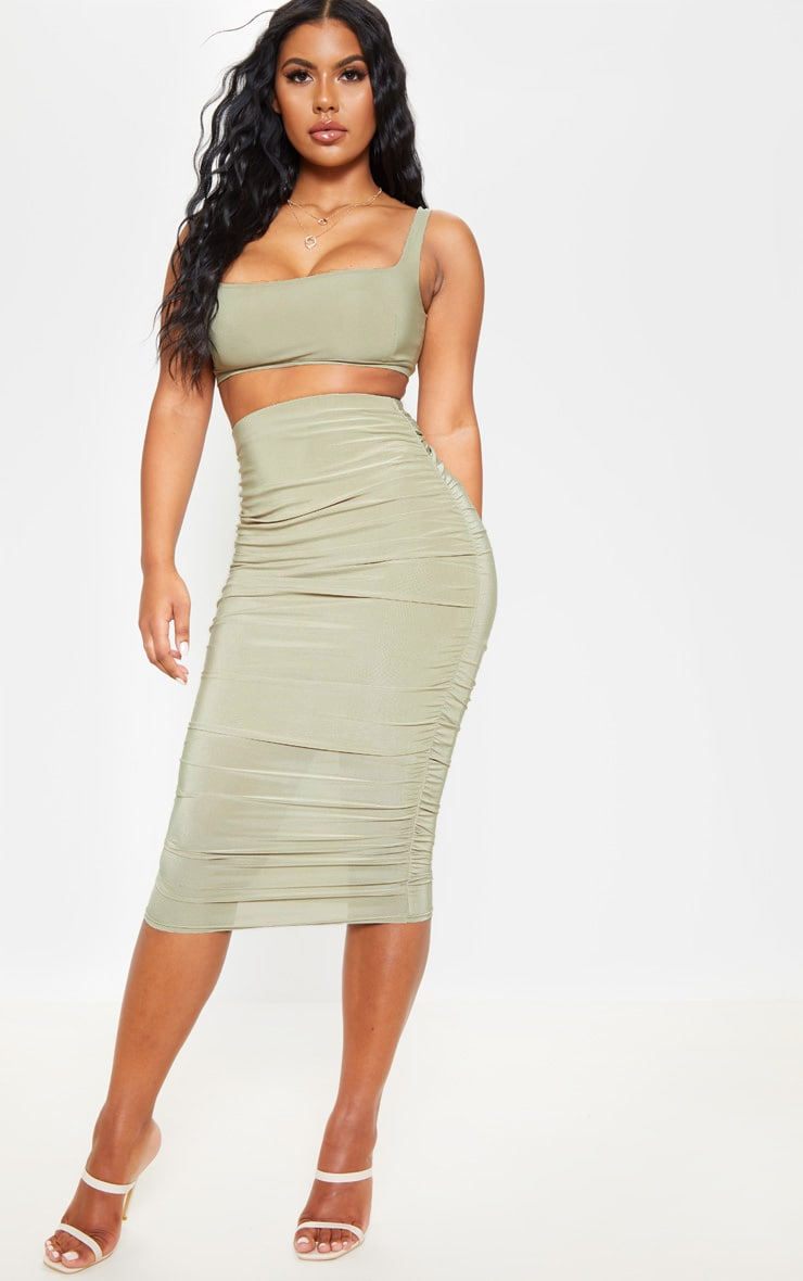 Sage Green Second Skin Slinky Square Neck Crop Top 4