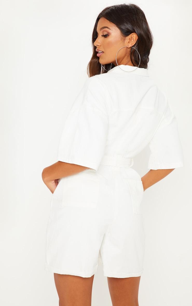White Shorts Denim Playsuit 2