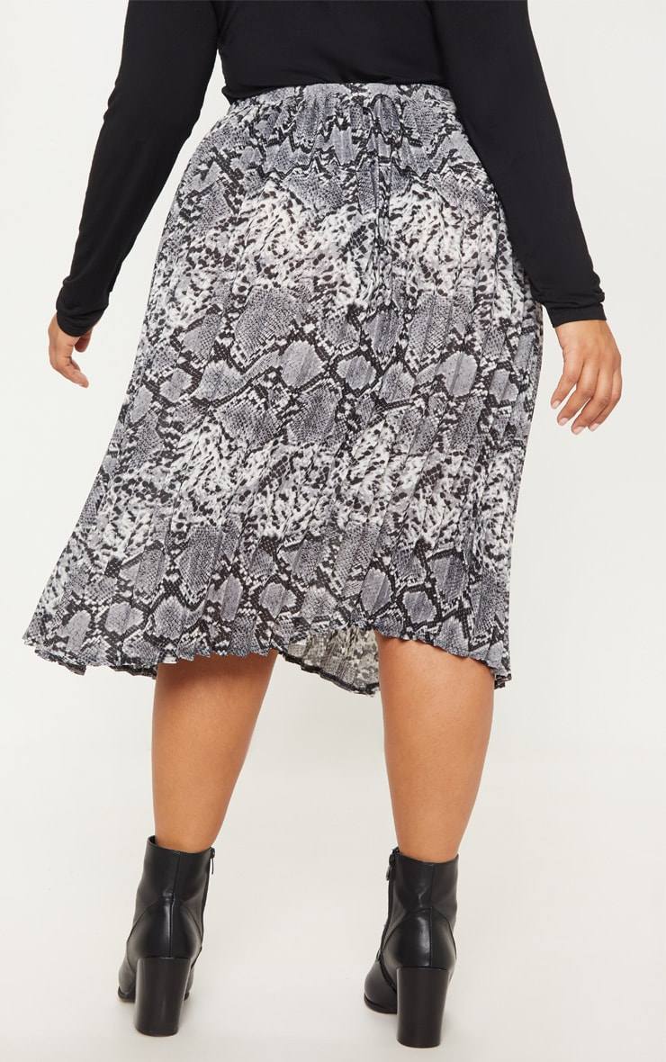 Plus Grey Snake Print Pleated Midi Skirt 4