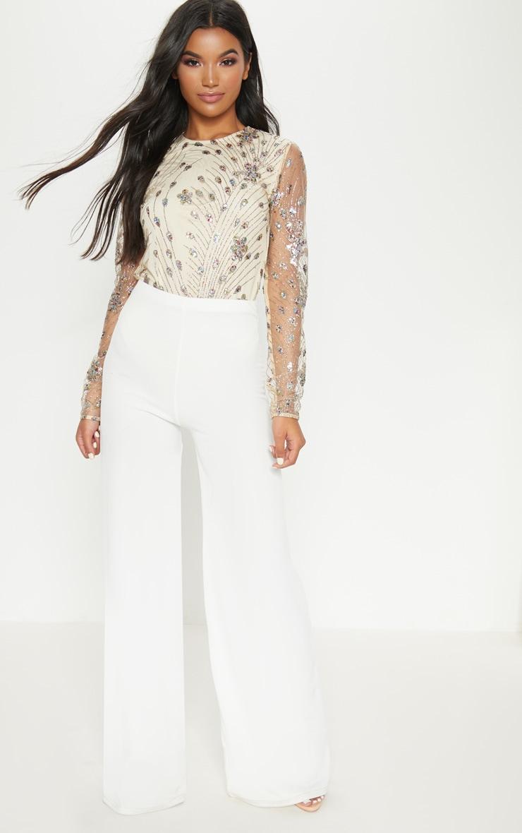 Nude Glitter Embroidered Mesh Long Sleeve Bodysuit 4
