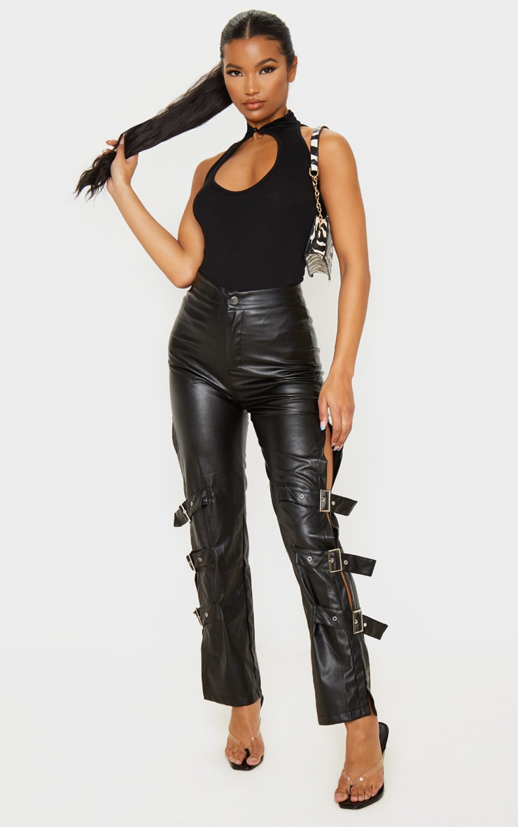 Black Jersey Oriental High Neck Sleeveless Bodysuit 5