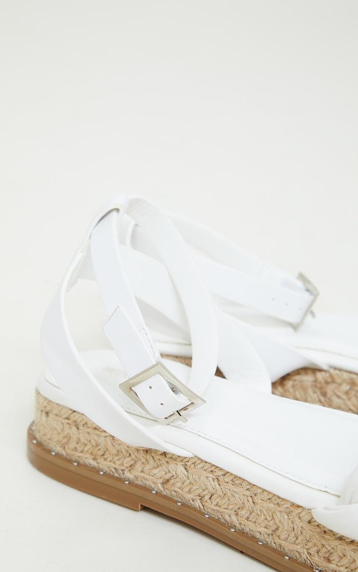 White PU Plait Detail Strappy Espadrille Sandals 4