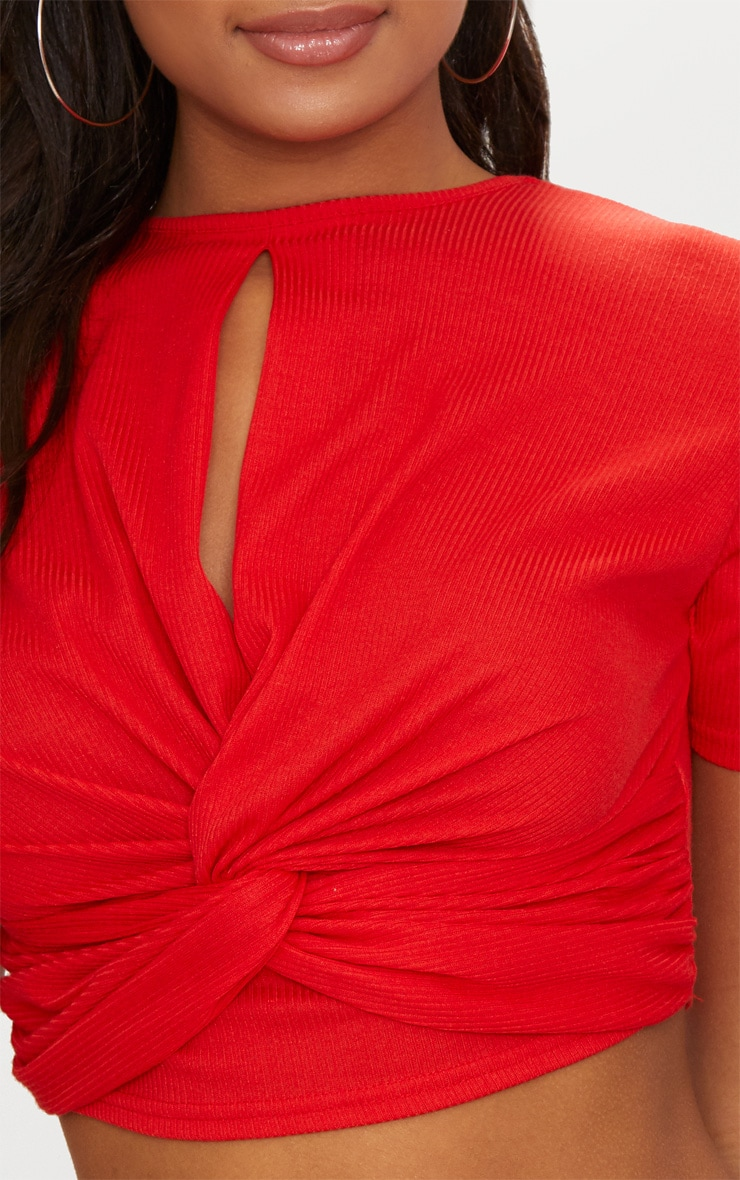 Red Rib Keyhole Knot Front Crop Top  5