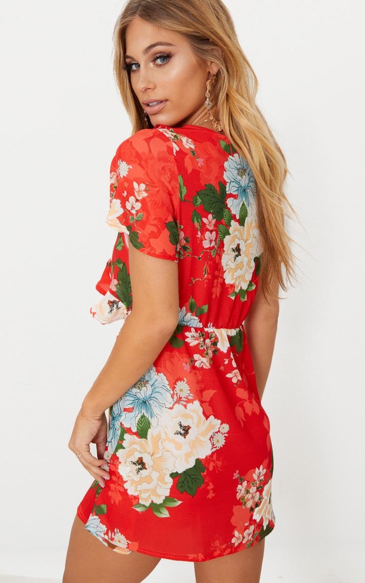 Red Floral Print Frill Detail Tea Dress 2