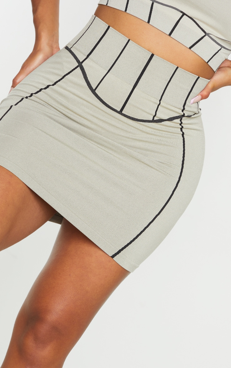 Shape Stone Seamless Contrast Detail Bodycon Skirt 5