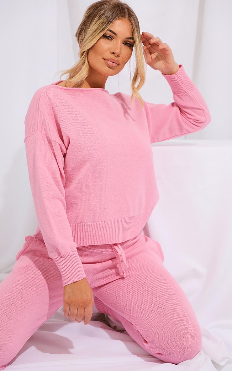 Pink Slash Neck Knitted Set 4