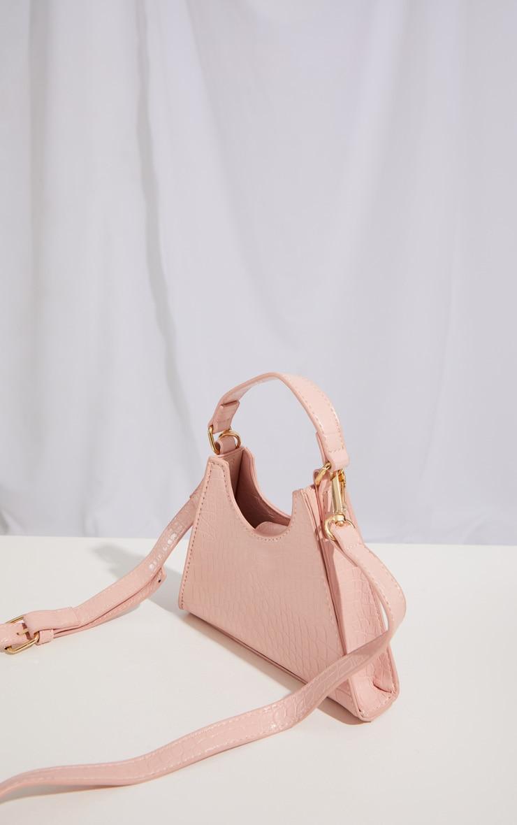Pink PU Triangle Mini Cross Body Bag 3