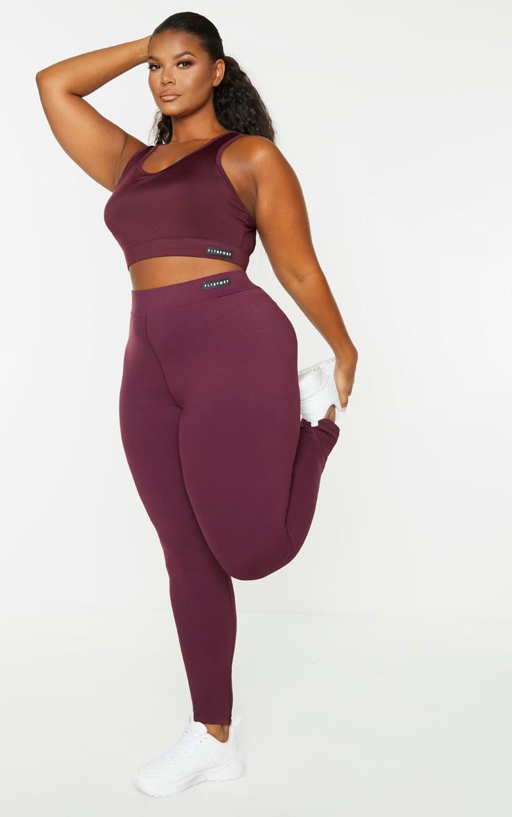 PRETTYLITTLETHING Plus Plum High Waist Gym Legging 1