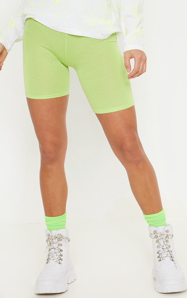 Petite Neon Lime Basic Bike Shorts 2