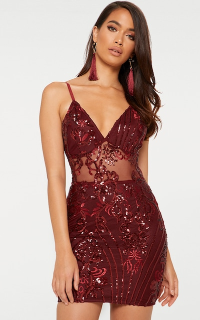 df2e4c94968 Burgundy Strappy Sheer Panel Sequin Bodycon Dress