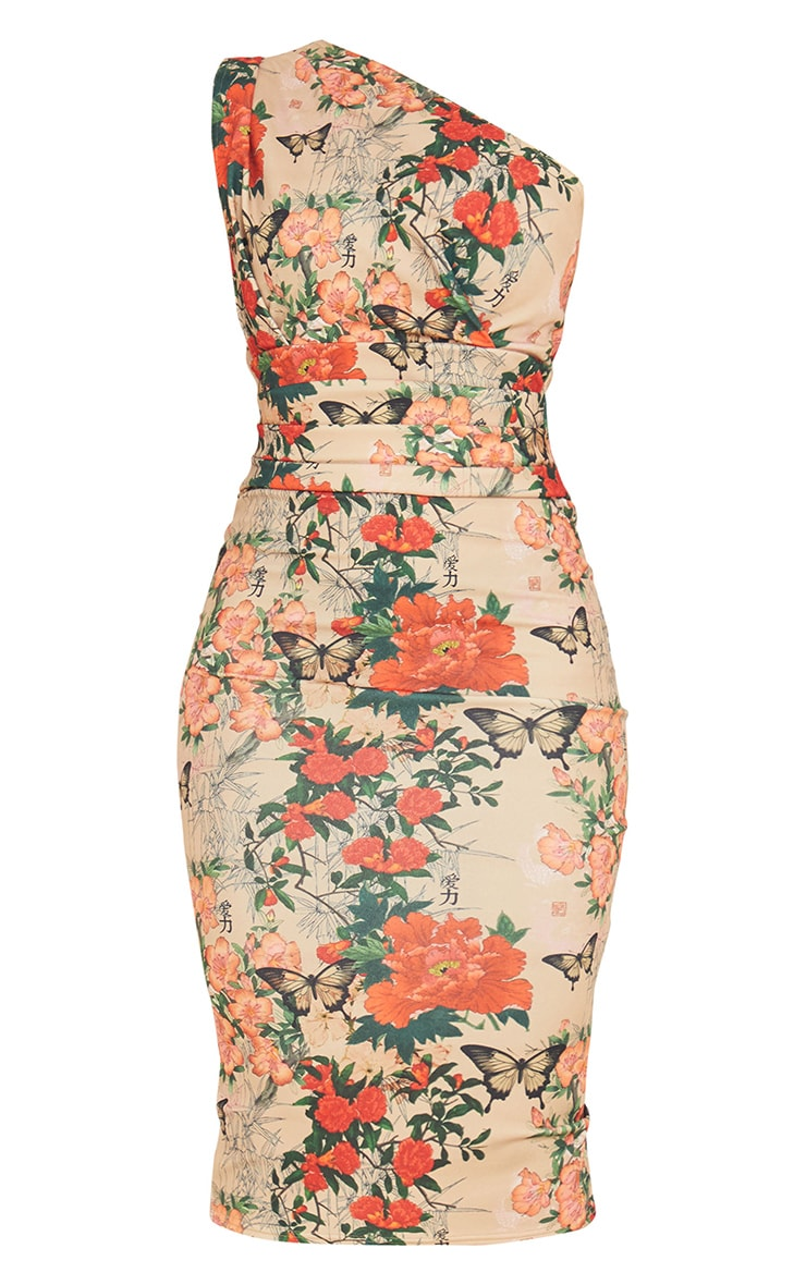 Stone Floral Print One Shoulder Ruched Detail Midi Dress 5