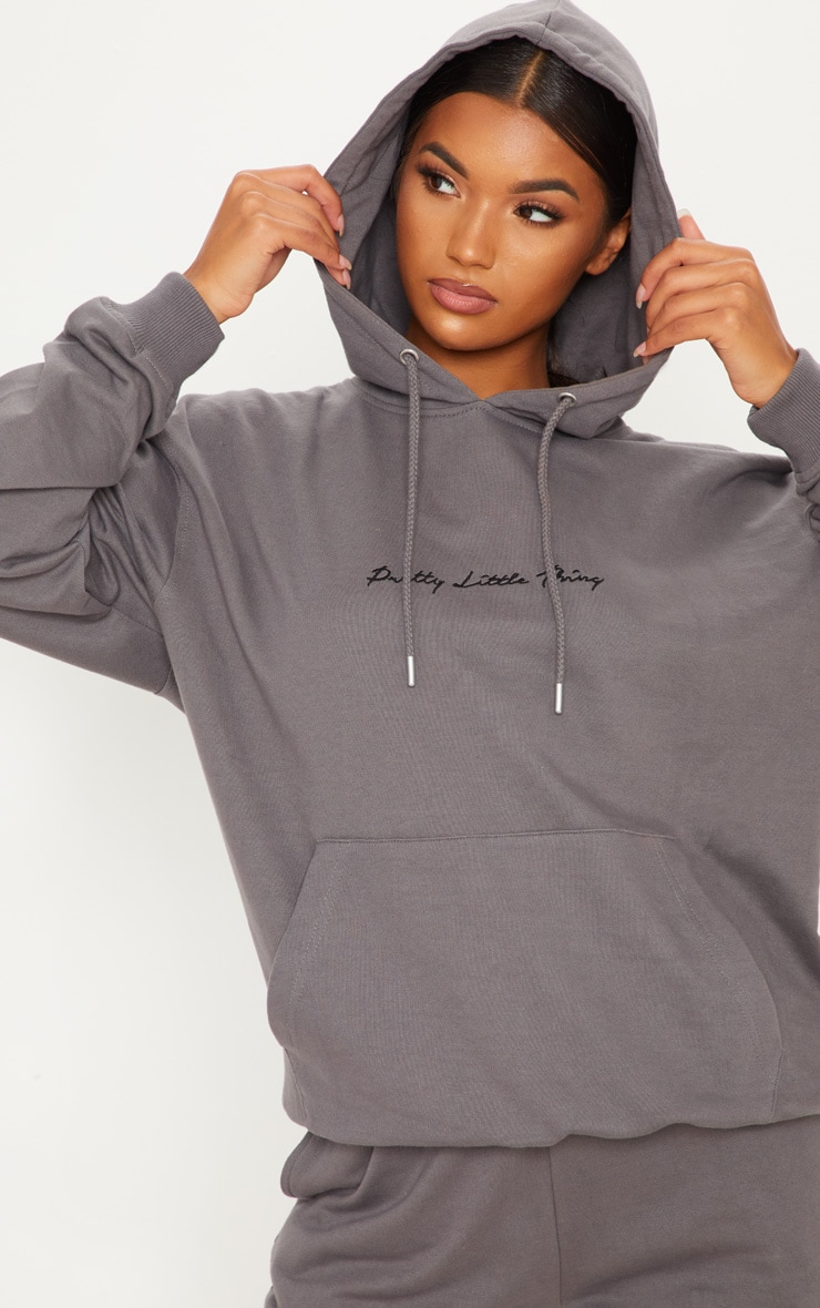 PRETTYLITTLETHING Charcoal Embroidered Oversized Hoodie 2