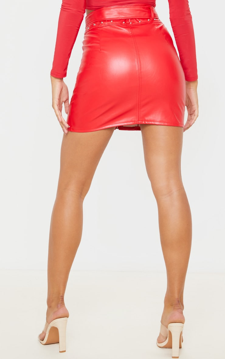 Red Faux Leather Stud Detail Belted Mini Skirt 4