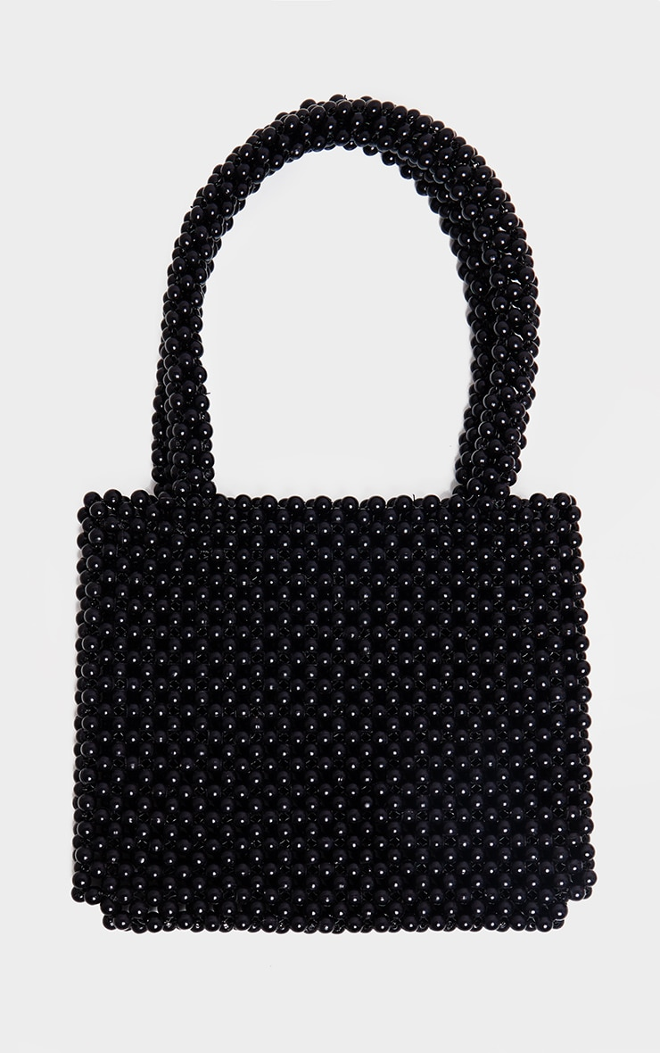 Black Beaded Rectangle Mini Bag 2