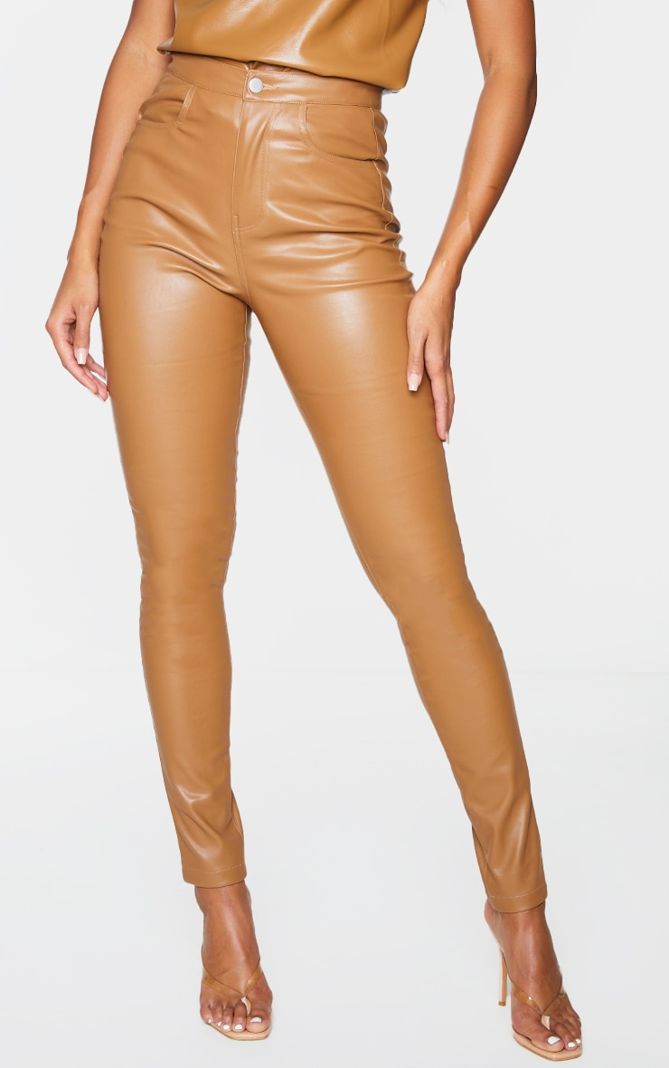 Camel Button Up Faux Leather Skinny Trousers 2