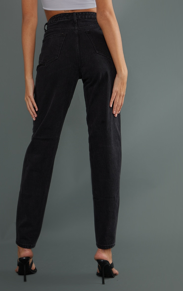 PRETTYLITTLETHING Tall Black Denim Ripped Mom Jeans 3