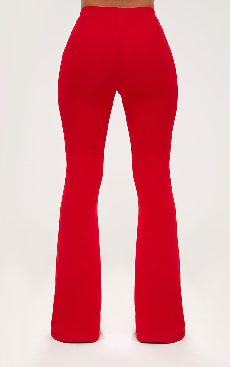 Red High Waist Extreme Flare Long Leg Trousers 4