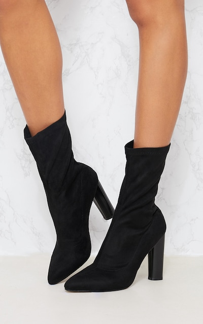 Black Faux Suede Sock Boot