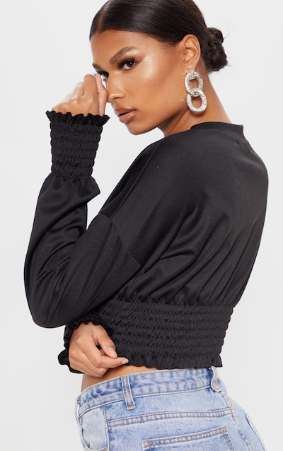 Black Shirred Crop Sweater
