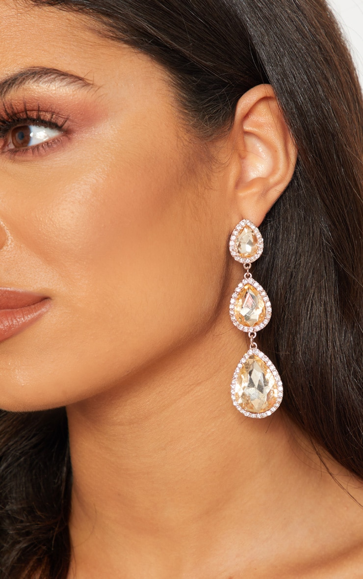 Gold Tear Drop Diamante Drop Earrings