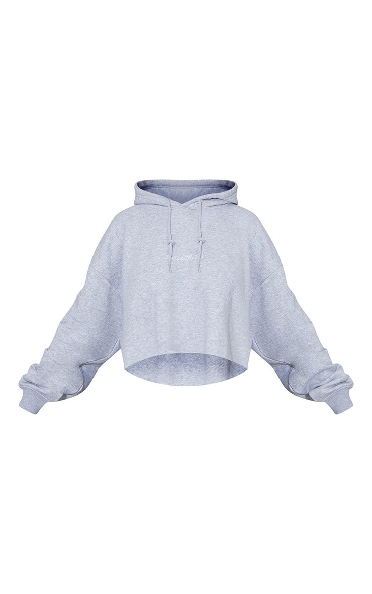 PRETTYLITTLETHING Grey Marl Embroidered Crop Hoodie 5