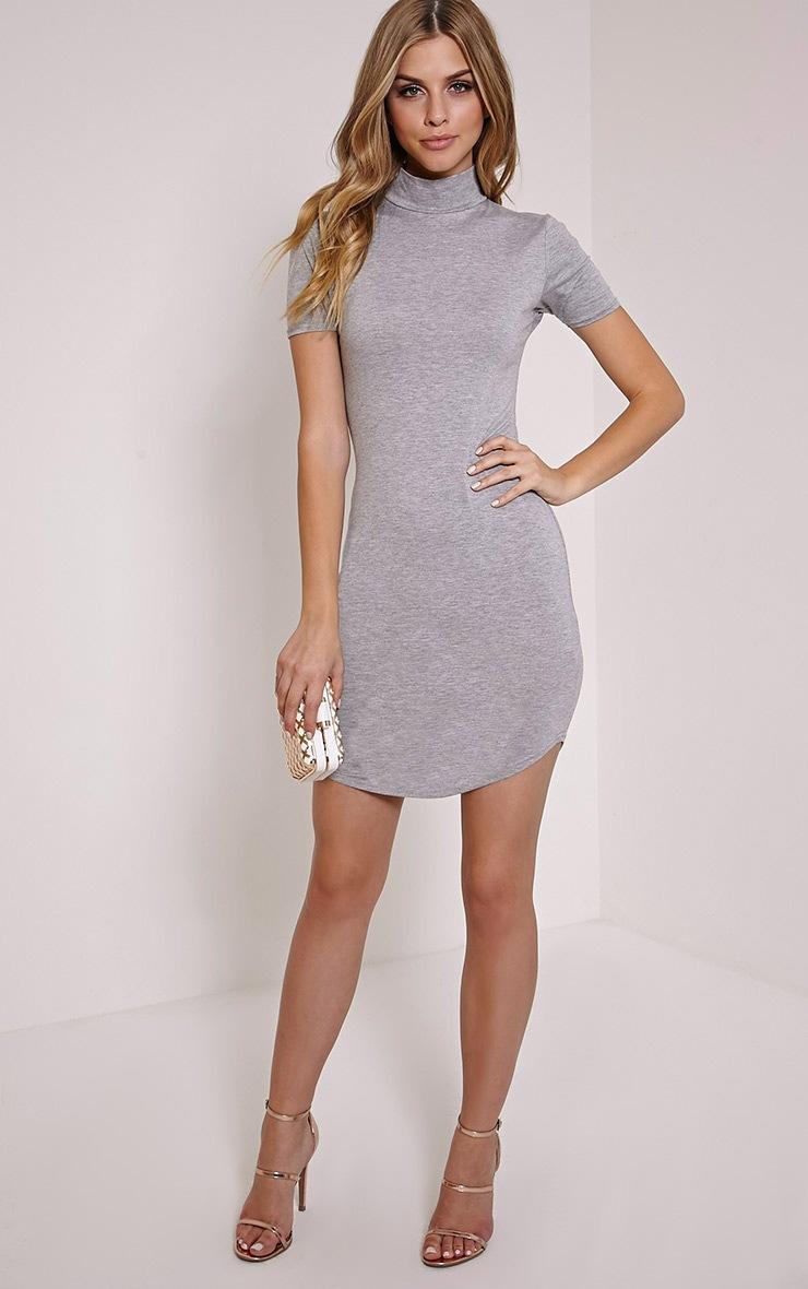 Alby Grey Marl Cap Sleeve Curve Hem High Neck Dress 3
